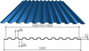 Размеры и использование профнастила С21-1000
